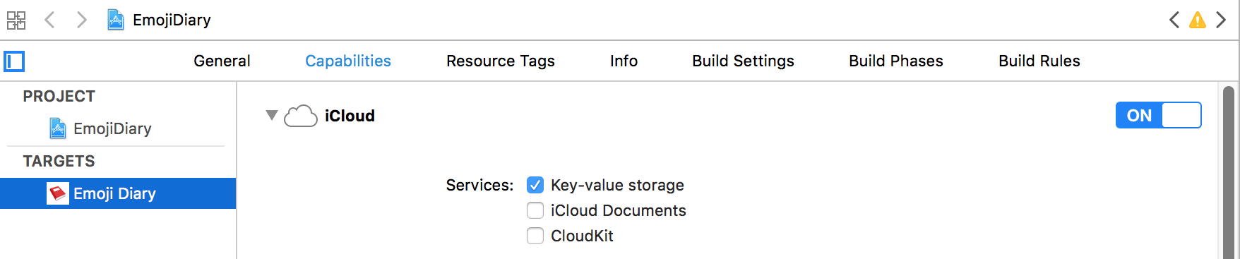 Screenshot of project settings in Xcode